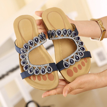 Lucyever 2017 Sommer Retro Böhmen Schuhe Frau Mode String Sicken Strass Flip-Flops Nationalen Stil Plattform Flache Slipper