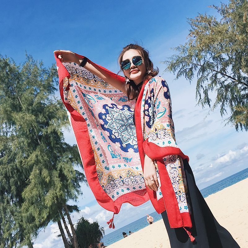 180 100CM Women Shawls Cotton Pashmina Linen Scarf Wraps Thin Satin Floral Retro Ethnic Style Long Spring Summer Beach Scarve C4 in Women 39 s Scarves from Apparel Accessories