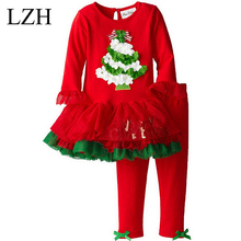 2016 Girl Christmas Sets Red Long Sleeve Christmas Tree Tutu Dress Bowknot Leggings 2 Piece Clothes Sets Kids Christmas Costume