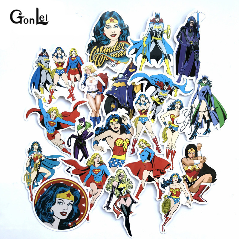 50Pcs Super Heroes Unicorn Wonder Woman Stickers for Luggage Laptop Skateboard Bicycle Motorcycle Car Styling Waterproof Sticker