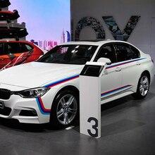 Tres rayas de color diseño de logotipo coche cuerpo decoración refit pegatinas y calcomanías, estilo del coche para BMW E46/E39/E60/E90/E36/F10 y así sucesivamente