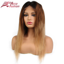 Ombre Glueless Lace Front Wigs Human Hair Brazilian Remy Hair Strsaight Wigs 1B/4/27 Color Pre Plucked Hairline Dream Beauty