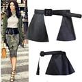 Europe Style Women Belts Unique Design Wide Ruffles Pu Black Belt Fashion Street Style Adults Accessories Waist 76-92CM