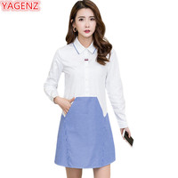 YAGENZ Casual Mini Dress Women Dress Elegant Pullover Plus size Ladies Dresses Tshirt Dress Patchwork Spring Womens Clothes 806