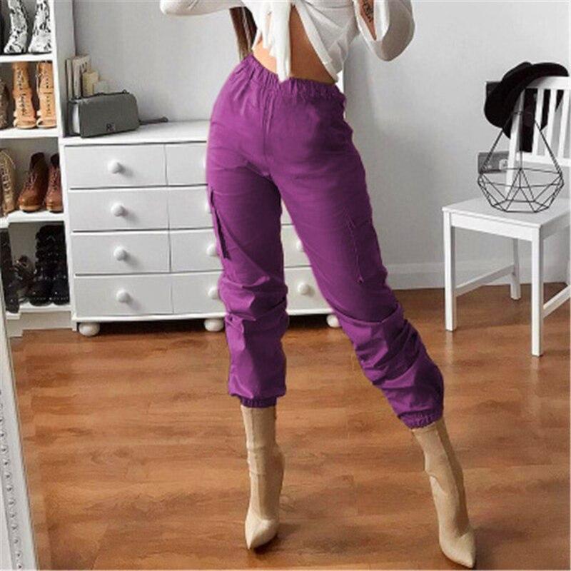 Pantalon Pantalones Hop Bares Alta X27s Cintura Femme De Punk cordón Pierna Dos Hip Ancha Estilo Mujeres Fucsia Púrpura OrXqOw