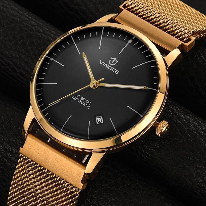 vinoce Fashion Men Watch Men Automatic Mechanical gold Wrist Wristwatch Stainless Steel Male Clock Relogio Masculino