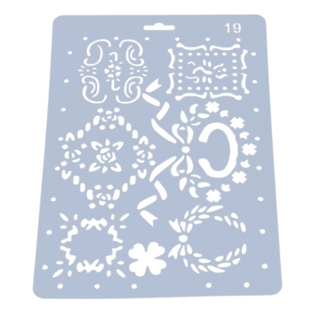 Theme Lace Ruler Template DIY Photo Album Drawing Tool Flower Decoration Hollow