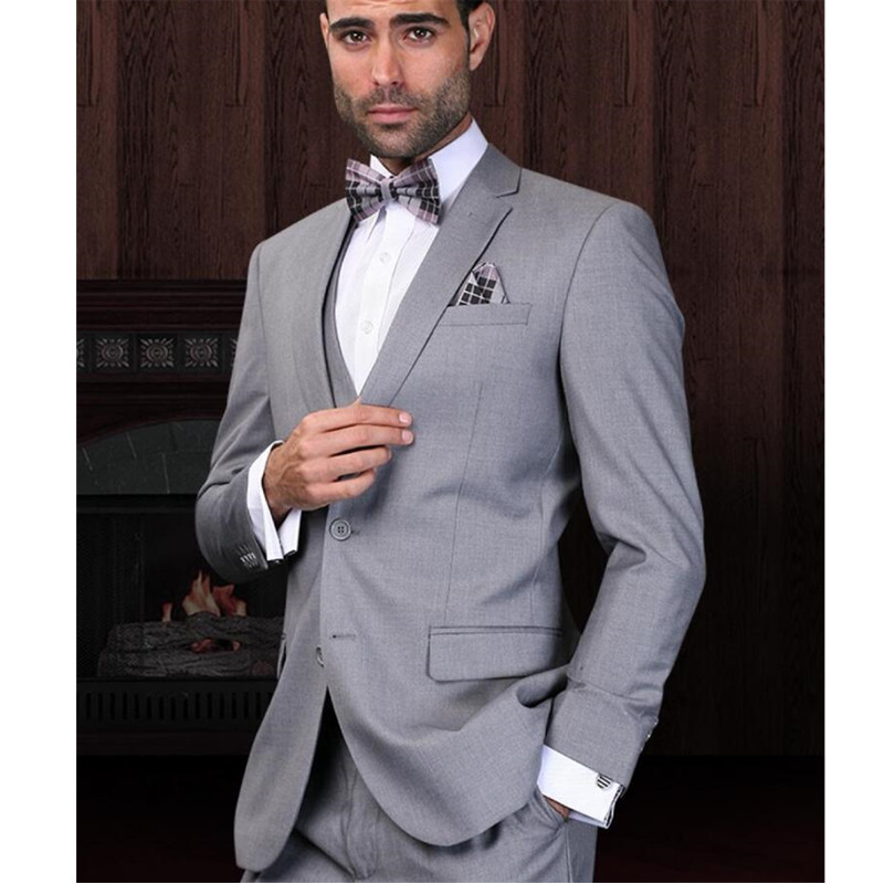 Light Grey groom dress tuxedo Wedding Suits notched Lapel Jacket  ...