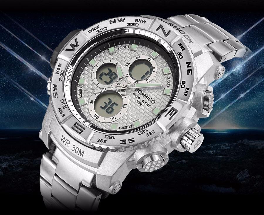 BOAMIGO Fashion Sport Man Watches Stainless Steel LED Digital Watch Analog Quartz Movement Waterproof Dual Display Wristwatches (8)