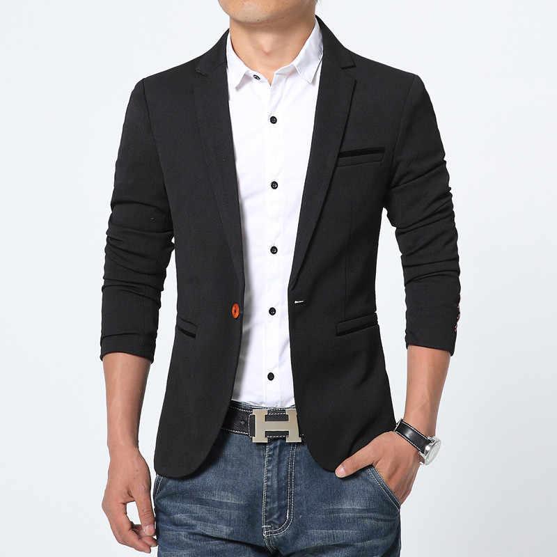 Wiosna jesień luksusowe mężczyźni Blazer 2020 dorywczo biznes bawełna dopasowany przylegający garnitur kurtka mężczyzna Plus rozmiar M-5XL Blazer Masculino