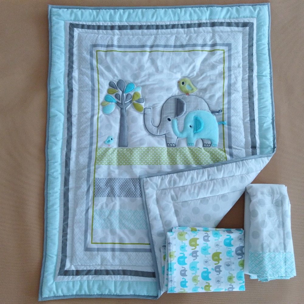 3pcs Baby Bedding Set Cotton Quilt & Bed Sheet & crib skirt With Lovely cartoon Pattern for boy and girl