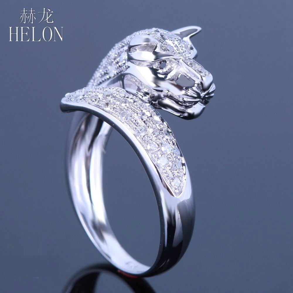 HELON solide 10 K or blanc élégant léopard 100% véritables diamants naturels et diamants noirs bague de fiançailles bijoux de mariage
