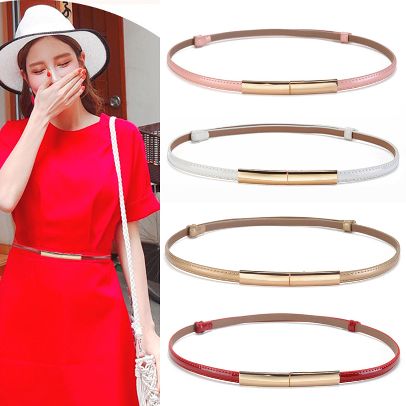 2019 New Ladies Black Red White Pink Gold Narrow Thin Leather Belts For Dresses Women Genuine Leather Waist Belt Cinturon Mujer