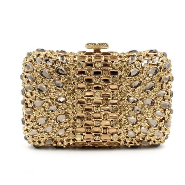 women gold Diamond Rhinestone clutch Purse Ladies Minaudiere Evening Clutch  Bags gold Crystal Party Clutches Wedding Bridal Bag 0b49d8c8e5fd3