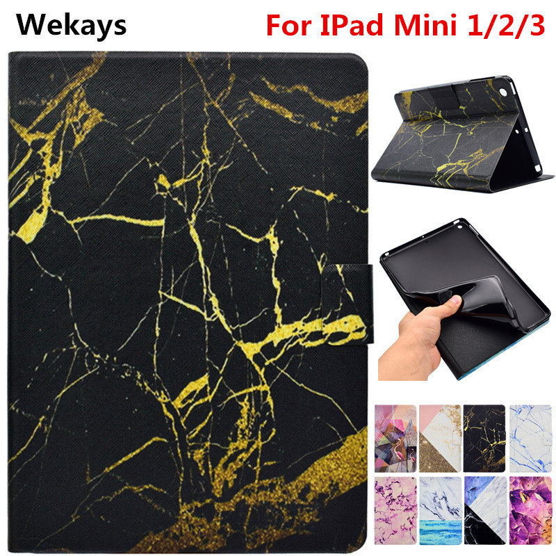 Wekays Case For Apple IPad Mini 1/2/3 Marble Leather Smart Fundas Case For Coque IPad Mini 1 2 3 Mini2 Mini3 Table Cover Cases