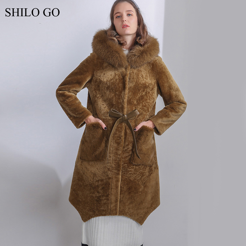 SHILO GO Fur Coat Womens Winter Fashion Merino sheep fur long coat hooded real fox fur collar leather belt button warm fur coat