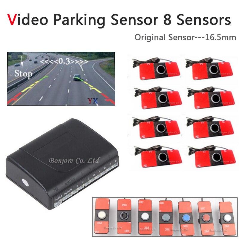 Koorinwoo czujniki parkowania samochodu 8 radarów oryginalny 16.5mm system parkowania wideo Alarm asystent parkowania akcesoria samochodowe Parktronic