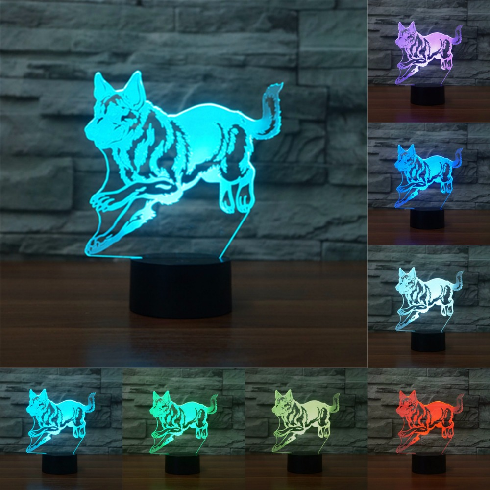 German shepherd dog 7 color change lamp 3D light Acrylic Colorful Islamic Muhammad Desk Lamp Customize Lamp IY803981