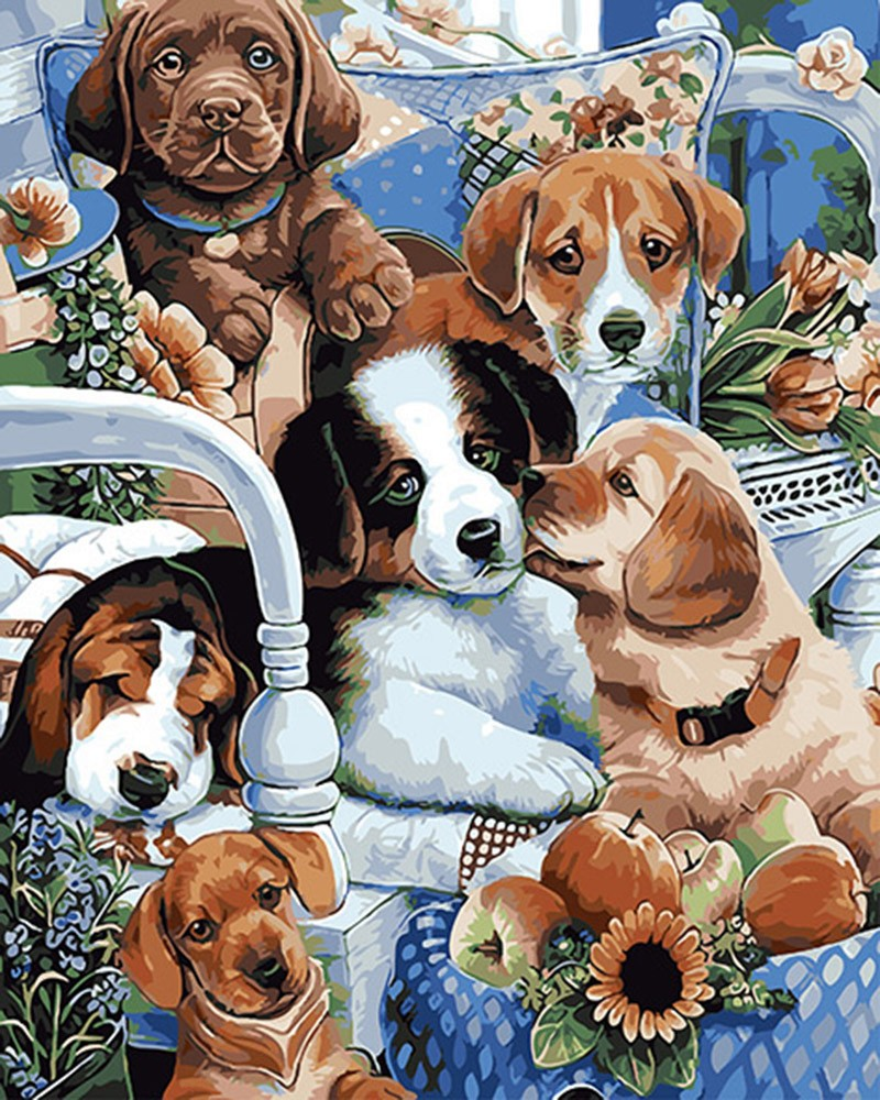Paint By Numbers - 9 Various Animal Collection Canvas