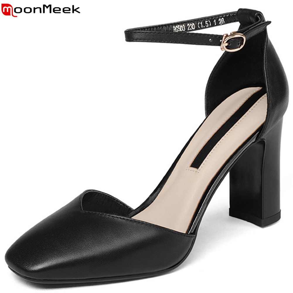 MoonMeek black beige brown fashion spring autumn new 2018 shoes woman square toe buckle ladies genuine leather high heels shoes цена и фото