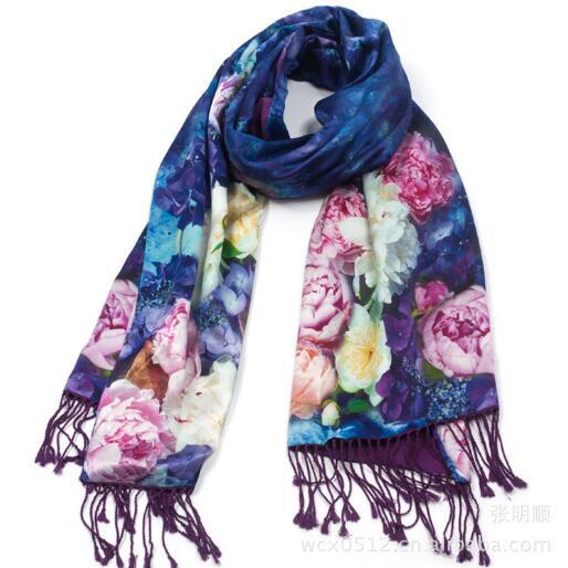 Натурального шелка женские зимние Цветочные кисточкой шарф с цветочным принтом пашмины