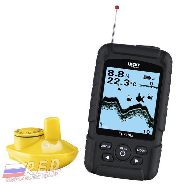 Lucky FF718Li-W RU эхолот для рыбалки беспроводной 180 м, оригинал русская версия, на литиевых аккумуляторах глубина сканирования до 40 метров, отрисо...