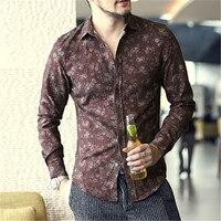 New Retro Old Floral Print Shirt Men Slim Fit Long Sleeve Cotton Slim Fit Flower Shirt
