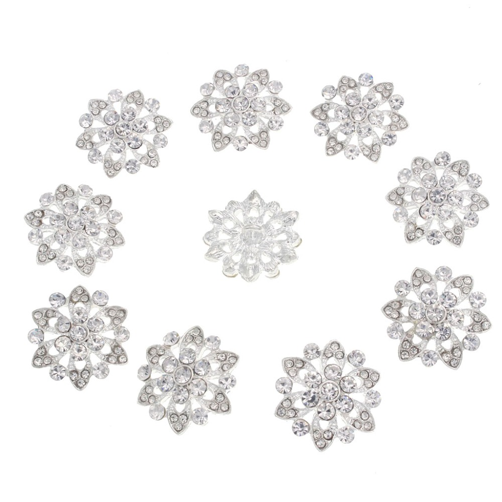 Nidalee Crystal Rhinestone Shank Buttons Sewing Alloy DIY Wedding Clothing Accessories Shell Bow Hair Embellishment 22mm 10pcs