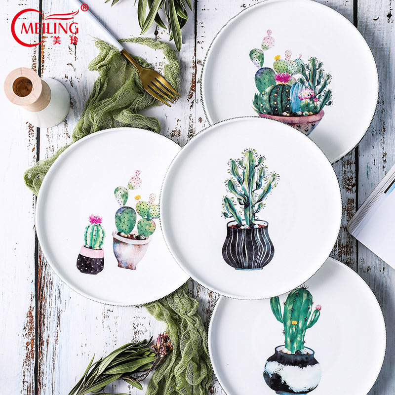 Christmas Platter Plates.Us 27 27 Nordic Handpainted Cactus Plates Bone China Porcelain Tableware Christmas Table Service Platter Cake Dinner Dishes Kitchen Decor In