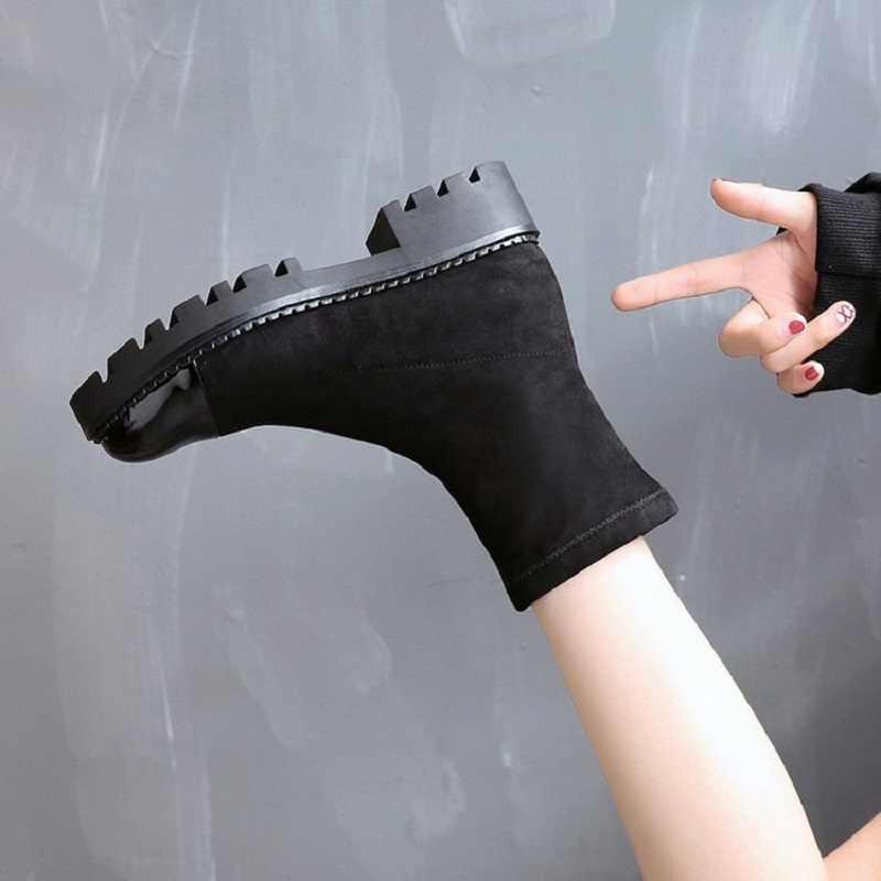 Kadın Yeni Bahar Sonbahar Çizmeler Akın Vamp Yuvarlak Ayak Kalın Topuklu Kumaş Kauçuk Taban Orta Buzağı Platform Çizmeler 20181016