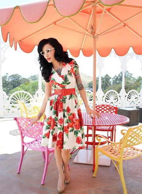 e66360b93167 summer women vintage 50s retro rockabilly pin up rose midi cotton casual  dress plus size 4xl roupas vestidos femininos dresses