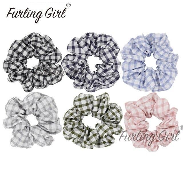 Furling Girl 1 Plaid Lattice Hair Scrunchies for Women Hair Accessories  Tartan Gingham Hair Tie Elastic Ponytail Holders fc17fc58d68