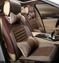 automotive linen cushion set car seat covers cream brown grey pad pu mat for Cadillac CTS CT6 SRX DeVille Escalade SLS ATS-L/XTS