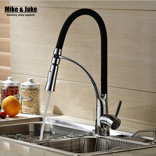 цена на Free shipping Black and Chrome Finish Kitchen Sink Faucet Deck Mount Pull Out Dual Sprayer Nozzle Hot Cold Mixer Water Taps