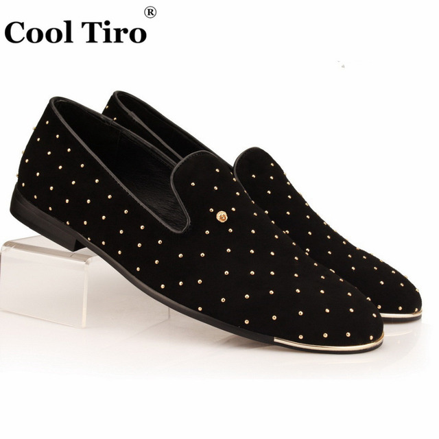 Men's Leather Loafers Slippers With Rivet Wedding Dress Shoes Slip-On Leather Shoes (US 9)