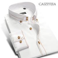 CAIZIYIJIA Hot Sale Wedding Dress Shirt White Long Sleeve Mens Shirt 100% Cotton Camisa Masculina Brand Clothing Casual Shirt