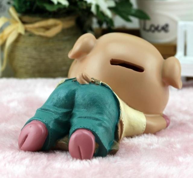 creative cartoon sleeping pig piggy bank resin tirelire alcancia