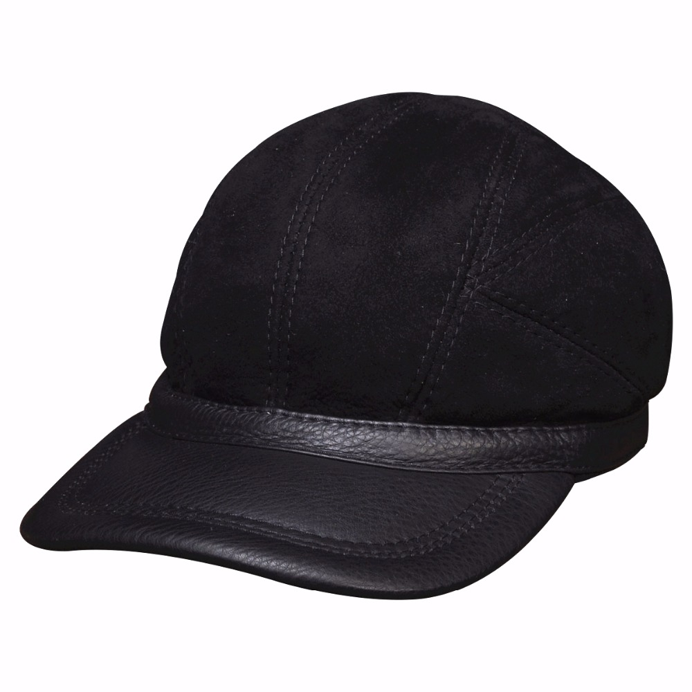 ФОТО HL034 Men's baseball caps hats  genuine leather brand new real leather cap hat one fur with real fur inside