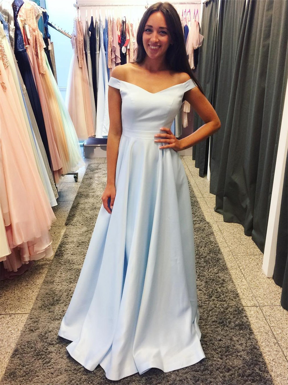Mint Blue Satin Simple   Bridesmaid     Dresses   A Line Boat Neck Off The Shoulder Long Formal Wedding Party   Dress   Cheap Women Gowns