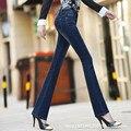 2016 autumn women Jeans female classic lady pants slim trousers mid waist jeans plaid wide leg pants strength package hip C0819