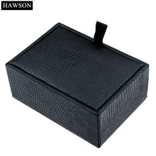 HAWSON Cuff links Gift Box Black Leather Pattern Box Plastic Jewelry Case