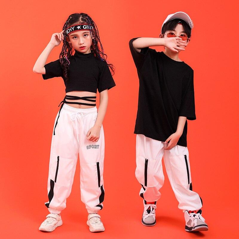 Kid Hip Hop Clothing Sweatshirt Black Shirt Top Crop T Shirt  Running Casual Pants For Girls Boys Dance Costume Ballroom Clothes