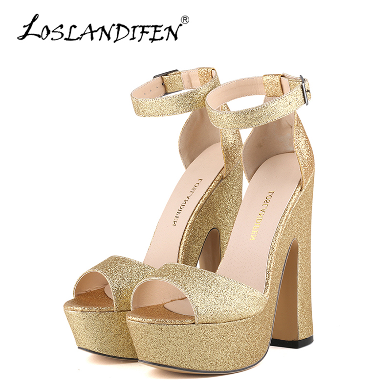 LOSLANDIFEN New Gold Women Glitter Sandals Sexy Platform Super High Heels Shoes Woman Open Toe Ankle Strap Summer Party Sandals phyanic bling glitter high heels 2017 silver wedding shoes woman summer platform women sandals sexy casual pumps phy4901