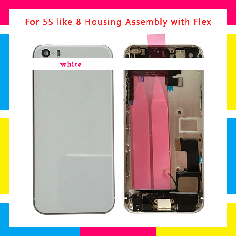 New Full Housing Assembly Back Middle Frame Chassis Battery Cover Door Rear with Flex Cable For iphone 5 5G SE 5S like 8 Style