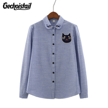 Geckoistail New Autumn Women Blouse Cat Embroidery Long Sleeve Work Cotton Shirts Women Office Tops Striped Blouse For Business