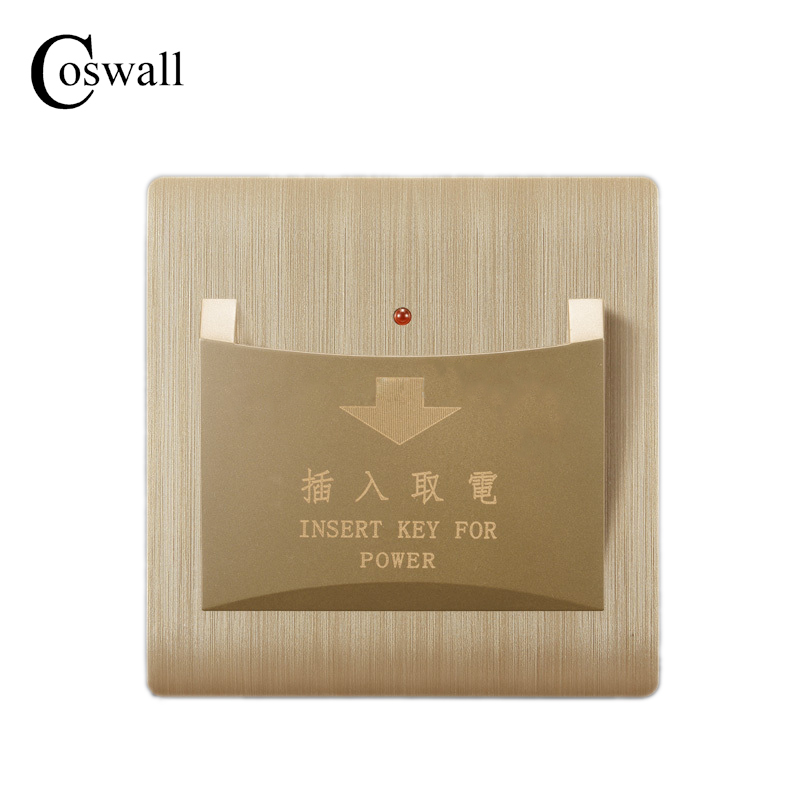 Free Shipping, Kempinski Luxury Wall Switch, Card Switch Insert Key For Power, Champagne Gold, AC 110~250V, C31 series kempinski wall switch 3 gang 1 way light switch champagne gold color special texture c31 sereis 110 250v popular