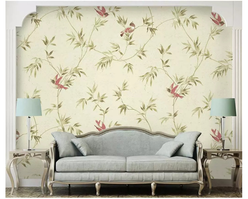 beibehang Large simple classic wallpaper hand - painted flowers and birds bamboo small fresh bedroom papel de parede wallpaper