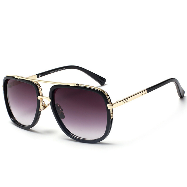 Luxury Fashion Decorated Sunglasses Women Brand Designer Men Gold Square Flat Sun Glasses For Womens Female Gradient Lens Shades