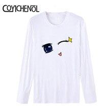 Regular O-neck Modal funny eyes Print tshirt  man long sleeve cartoon printed T-shirt homme solid color tops COYICHENOL