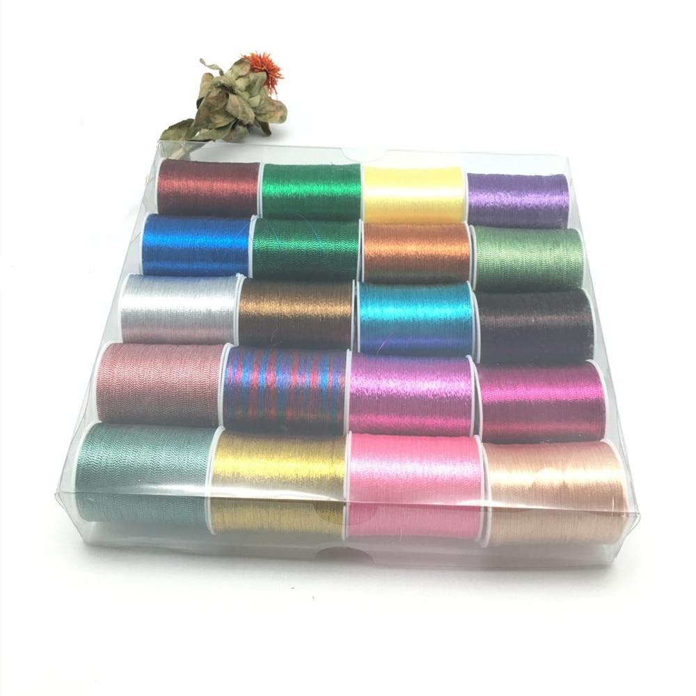 20 Spools Metallic Thread Embroidery Thread Sewing Thread Set  AA7642